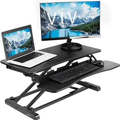 VIVO Black Height Adjustable Standing Desk Converter