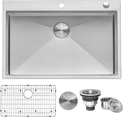 Ruvati 33 x 22-inch Drop-In Tight Radius 16 Gauge Steel Kitchen Sink