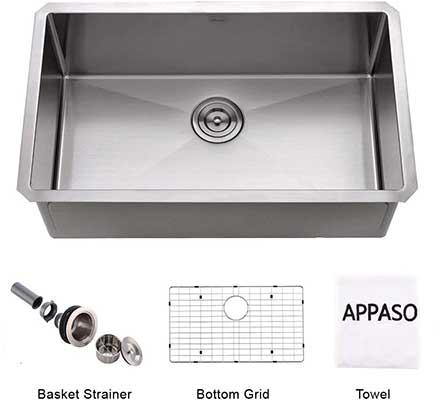 APPASO 32-Inch Single Bowl Kitchen Sink Undermount