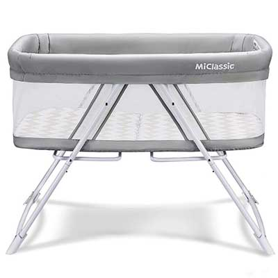 MiClassic mesh 2in1 Stationary&Rock Bassinet Travel Crib