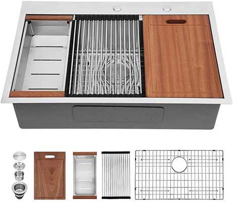 30 Kitchen Sink Drop In – Sarlai 30 Inch Stainless Steel Drop-In Sink