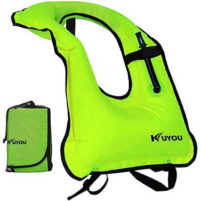 KUYOU Adult Inflatable Snorkel Life Jacket