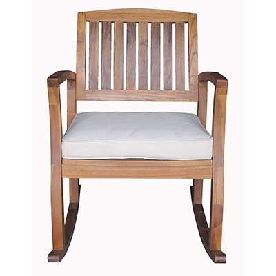 Sadie Outdoor Acacia Wood Rocking Chair with Cushion