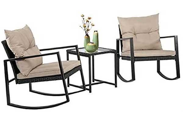 FDW Wicker Patio Furniture Sets Outdoor Bistro Set Rocking Chair
