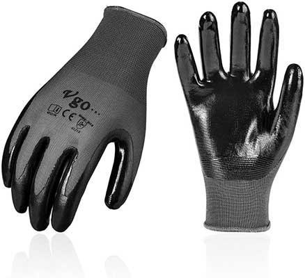 Vgo 10Pairs Nitrile Coating Gardening Gloves