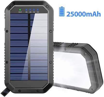 Solar Charger, 25000mAh Battery Solar Power Bank