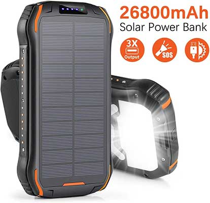 Xiyihoo Solar Charger 26800mAh, Solar Power Bank