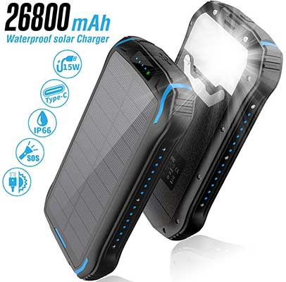 Solar Charger 26800mAh, Solar Power Bank