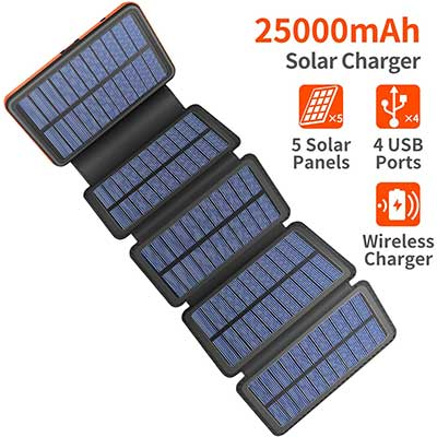 Solar Charger 25000mAh, 5 Solar Panel