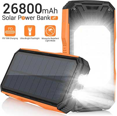 Solar Charger 26800mAh, Portable Solar Power Bank