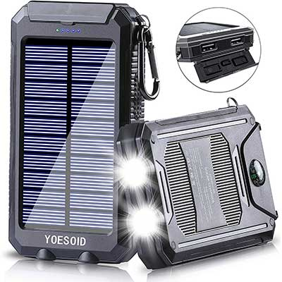 Solar Charge 20000mAh YOESOID Portable Solar Power Bank