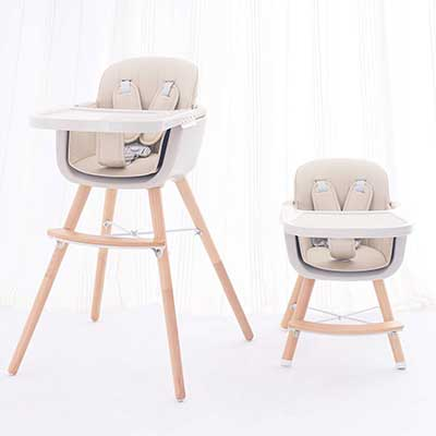 FUNNY SUPPLY 3-in-1 Convertible Wooden High Chair