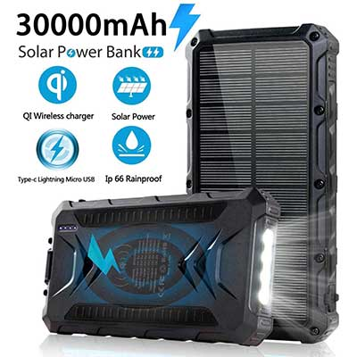 Solar Power Bank 30000mAh Solar Charger