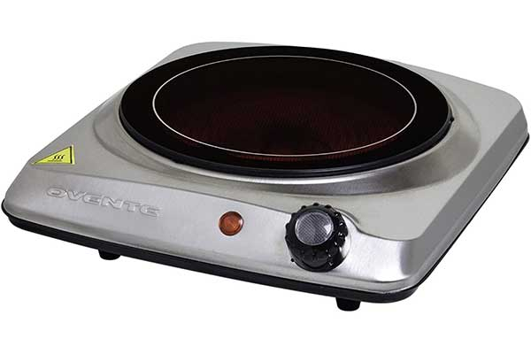 Ovente Electric Glass Infrared Burner Single Hot Plate