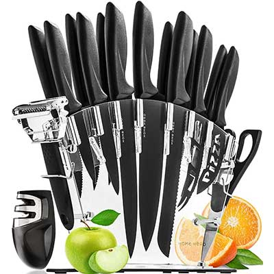 Stainless Steel Knife Set with Block 17 Kitchen Knives