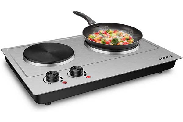 CUSIMAX 1800W Double Hot Plate, Stainless Steel