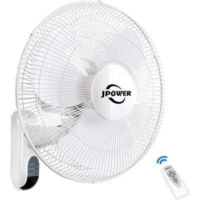 JPOWER 16 Inch Digital Wall Mount Fan with Remote Control