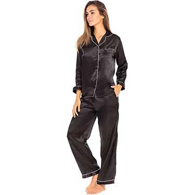 Alexander Del Rossa Women's Button Down Satin Pajama Set