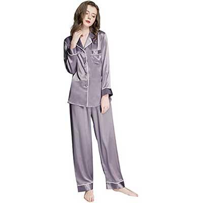 LONXU Women's Silk Satin Pajamas