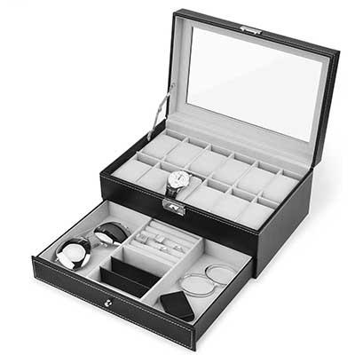 Watch Box, 12 Slots PU Leather Case