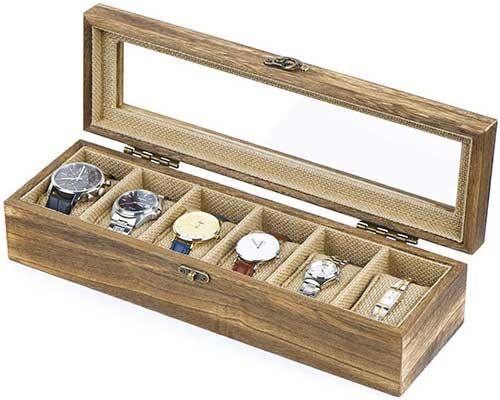 SRIWATANA Watch Box Case Organizer Display