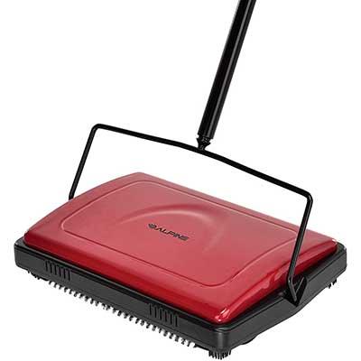 Alpine Industries Triple Brush Floor and Carpet Sweeper