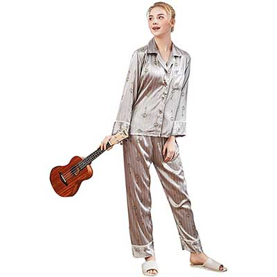 Belle Heure Women's Silky Satin Long Sleeve Pajamas