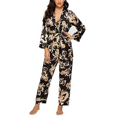 HOUSEPLANT Women's Floral Silk Satin Pajamas Set