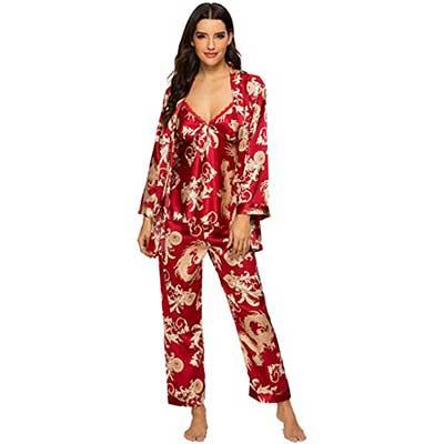 Escalier Women's Silk Satin Pajamas Set