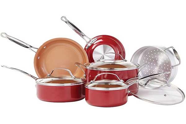 BulbHead Red Copper Ceramic Non-Stick Cookware Set