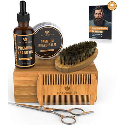 Naturenics Premium Beard-Grooming Kit for Men100% Organic Unscented Oil