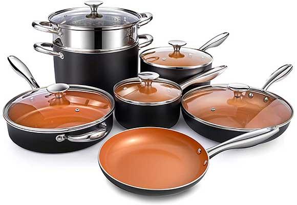 MICHELANGELO Copper Pots and Pans Set