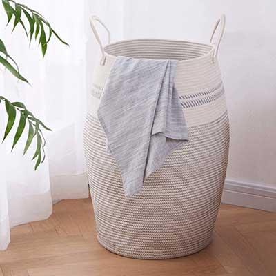 OIAHOMY Laundry Hamper Woven Cotton Rope