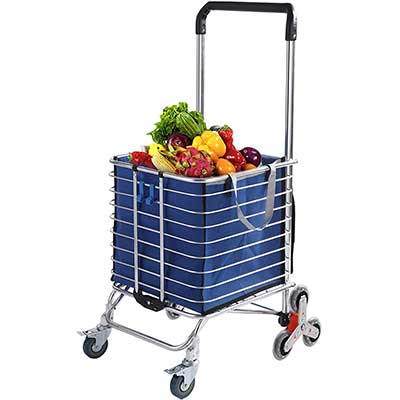 Grocery Cart with Wheels Folding Shopping Cart