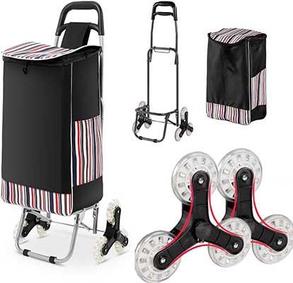 WOOKRAYS Folding Shopping Cart, Stair Climber