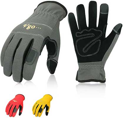 Vgo 3-Pairs Synthetic Leather Work Gloves, Multi-Purpose