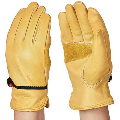 AmazonBasics Leather Work Glove with a Wrist Closure – Yellow
