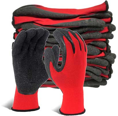 EvridWear Crinkle Latex Rubber-Hand Coated Safety Work-Gloves