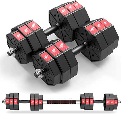 LEADNOVO Weights Dumbbells Barbell Set, 44lbs