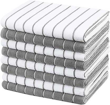 Gryeer Microfiber Kitchen Towels, Stripe Designed