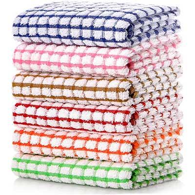 LAZI Kitchen Dish Towels, 16-Inch by 15-Inch Bulk Cotton Kitchen Towels