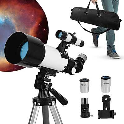 Telescope, Telescopes for Adults, 70mm Aperture 400mm AZ Travel Telescope
