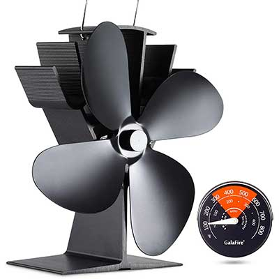 GALAFIRE 122 degree F Start Silent Heat Powered Wood Stove Fan