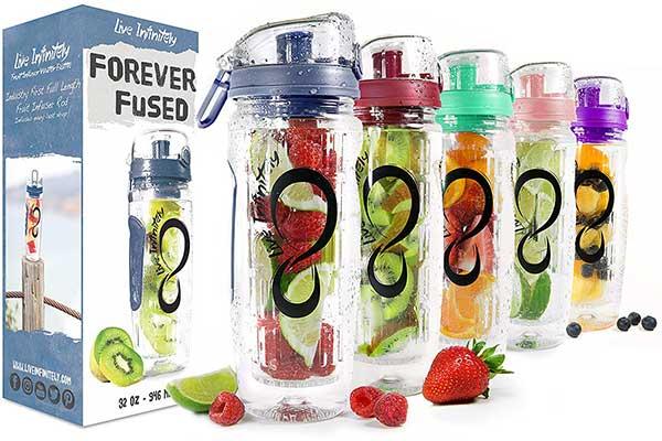 Live Infinitely 32oz Infuser Water Bottles – Featuring a Full-Length Fruit Basket