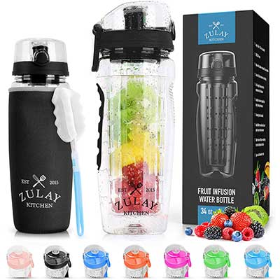 Zulay Fruit Infuser Water Bottle with Sleeve