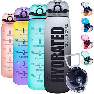 Elvira 32oz Motivational Water Bottle with Time Marker & Removable Fruit Infuser