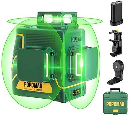 Laser Level 3D & 3 x 360-degree, Line Laser Green POPOMAN