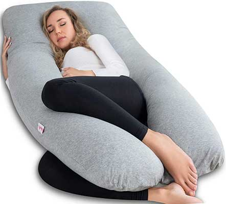 AngQi Shaped Pregnancy Pillow with Jersey Cover